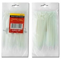 Хомут пластиковый 2,5x200 мм, (100 шт/упак), белый INTERTOOL