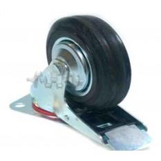 Колесо для тачек и платформ (литая резина) (в сборе с креплением и тормозами)   (160mm)   ELIT