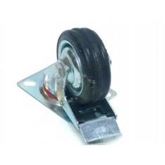 Колесо для тачек и платформ (литая резина) (в сборе с креплением и тормозами)   (75mm)   ELIT