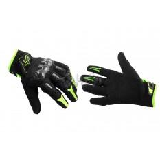 Перчатки FOX BOMBER (mod:FX-5, size:XL, черно-зеленые) арт.P-825